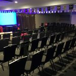 Royal Coach Hotel private function rooms set theatre style for presentation