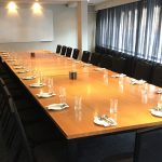 Royal coach hotel private meeting room Adelaide set boardroom style with large wooden table